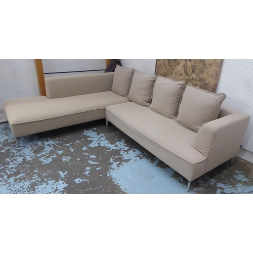 23 - LIGNE ROSET CORNER SOFA, in two sections with neutral upholstery, 270cm x 224cm x 69cm H....