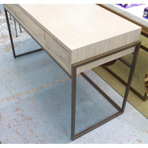 29 - DRESSING TABLE, light wood, metal support, 51cm x 78cm H x 124cm....