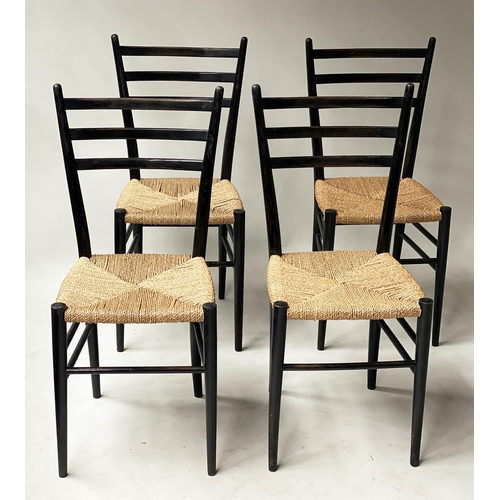 GIO PONTI CHAIRS, a set of four super Leggera ebonised with ladder backs and cord seats. (4)