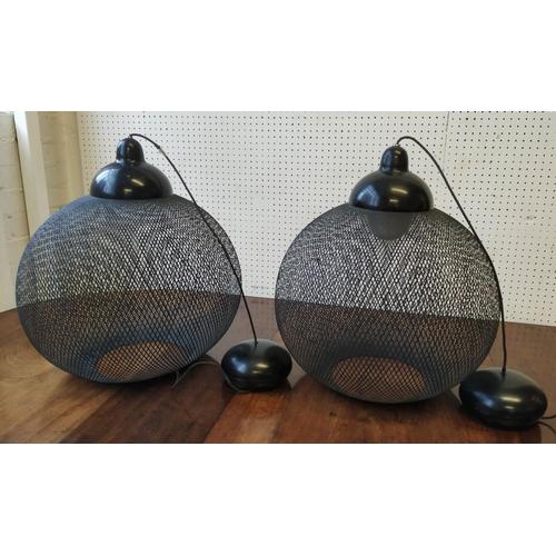 67 - MOOOI NON RANDOM CEILING LIGHTS, a pair, by Peter Guenzel, 50cm H. (2)...