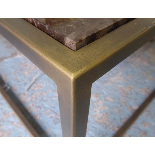 45 - LOW TABLE, with a marble top and metal supports, 122cm x 122cm x 43cm H....