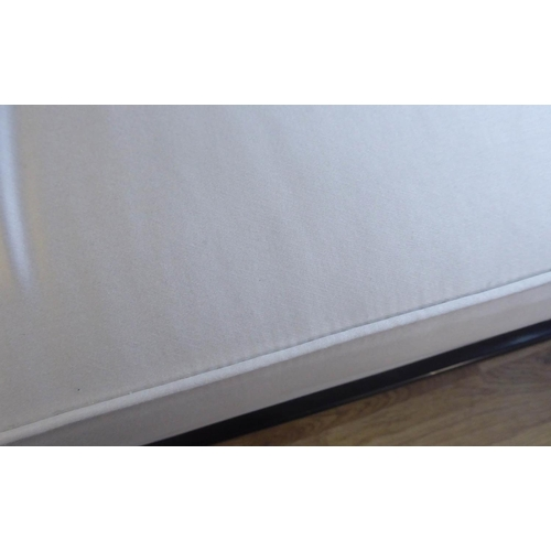 43 - WINDOW SEAT, contemporary design, ebonised and neutral upholstered, 180cm W....