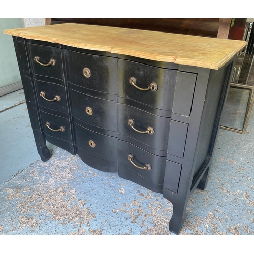 COMMODE, French style ebonised with three long drawers, 85cm H x 110cm x 48cm. (with faults)