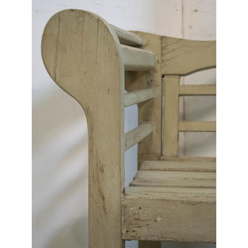 24 - LUTYENS STYLE GARDEN BENCH, grey painted, 102cm H x 169cm W x 59cm D....