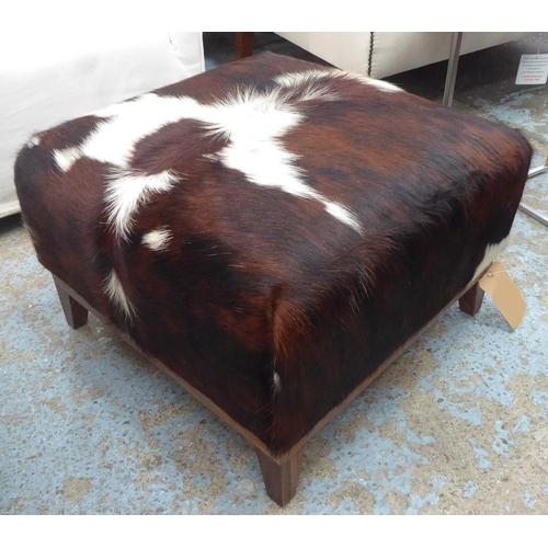 42 - BESPOKE SOFA LONDON OTTOMAN, cow hide finish, 60cm x 60cm x 42cm....