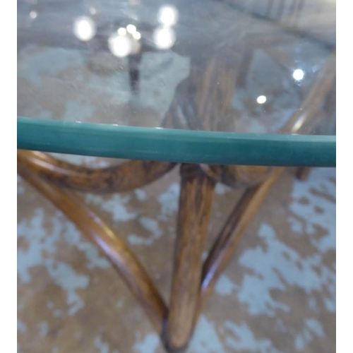 5 - BAMBOO DINING TABLE, with glass top, 112cm Diam x 73cm H....