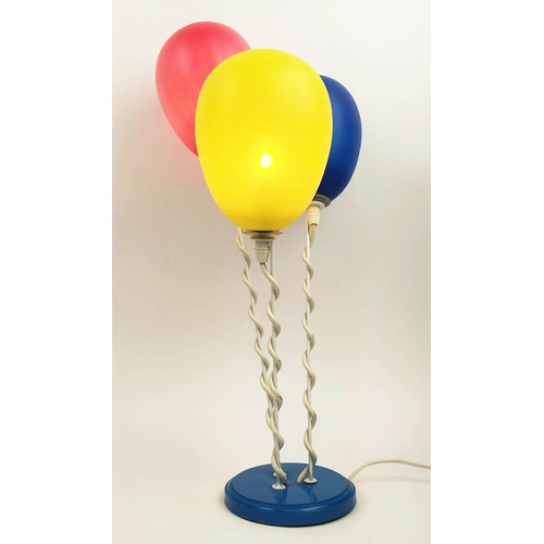 76 - BALLOON TABLE LAMP, vintage 1980's, with three plastic shades, 54cm H....