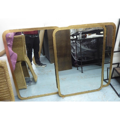 WALL MIRRORS, a set of three, 1960's French style, gilt frames, 98cm x 68cm. (3)