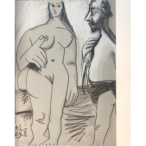 66 - PABLO PICASSO 'Painter and model II' 1969, lithograph 50cm x 40cm, bears stamp verso for Mourlot/Spa...