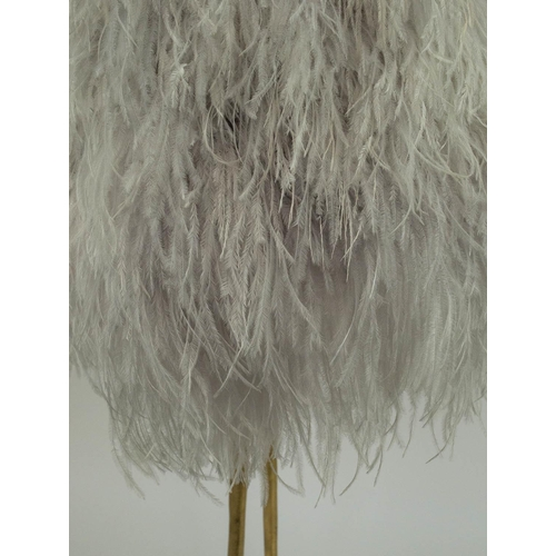 1 - PORTA ROMANA DUCK FEET TABLE LAMP, decayed gold finish with ostrich feather shade, 85cm H....