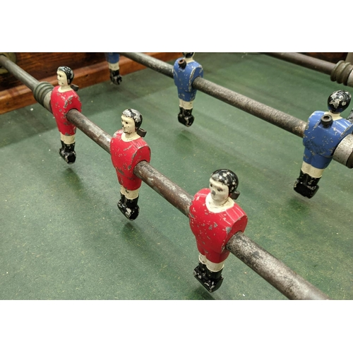 37 - TABLE FOOTBALL, vintage 20th century, polychrome players, with balls, 148cm x 100cm x 97cm....