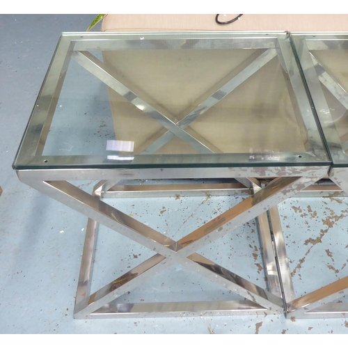 47 - EICHHOLTZ CRISS CROSS SIDE TABLES, a pair, 56cm W x 46cm D x 58cm H. (2) (chip to one of the glass t...
