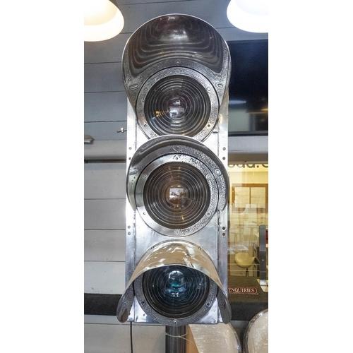 6 - WESTINGHOUSE BRAKE AND SIGNAL CO TRAFFIC LIGHT FLOOR LAMP, vintage 20th century English repurposed o...