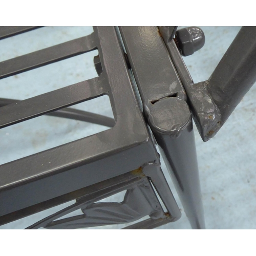58 - GARDEN BENCH, worked metal, grey painted finish, 145cm W....