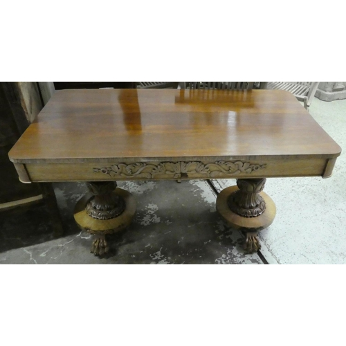 LIBRARY TABLE, William IV, rosewood with two drawers and carved detail, 70cm D x 138cm W x 75cm H. (with faults, top warped)