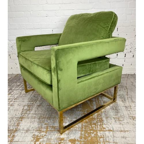 ARMCHAIR, 1970's Italian design, green velvet with brass frame, 86cm H x 83cm W x 74cm D.