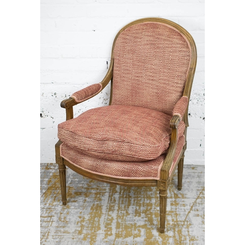 FAUTEUIL, Louis XVI beechwood with seat cushion in chenille upholstery, 64cm W.