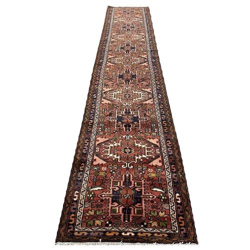 FINE PERSIAN KARAJA LONG RUNNER, 380cm x 75cm.