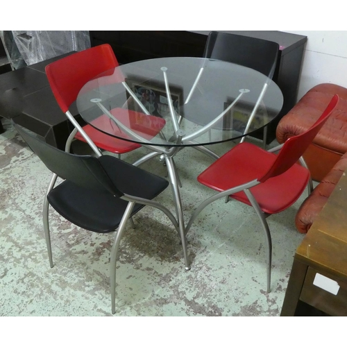 DINING SET INCLUDING, Calligaris dining chairs, a set of four, 84cm H and dining table 100cm diam x 74cm H. (5)