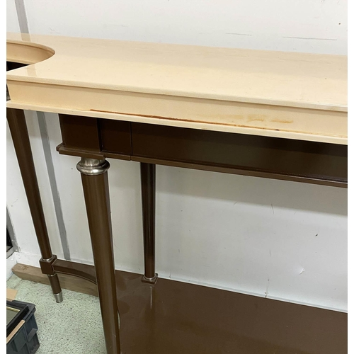 47 - CONSOLE TABLE, lacquer and nickel mounted, with faux parchment shaped top above two drawers, 45cm x ...