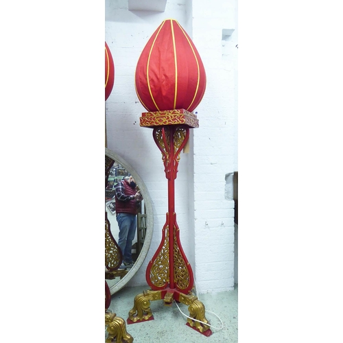 54 - STANDING LAMP, Chinese red and gilt decorated with ovoid silk shade, 215cm H x 63cm W x 200cm D.