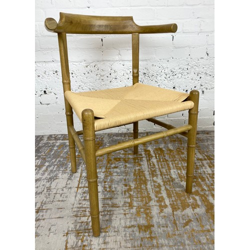 23 - FAUX BAMBOO WISHBONE STYLE CHAIRS, a set of four, Hans J Wegner inspired, 81cm H x 57cm W. (4)