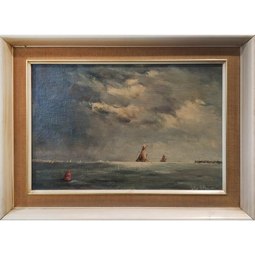 ARTHUR PANK (1918-1999), 'Sailing barges off the coast, Lowestoft', oil on board, 23cm x 33cm, signed and framed.