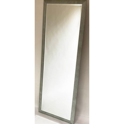 56 - LINLEY MIRROR, by David Linley, faux shagreen, rectangular cushion shape with beveled plate stamped ...