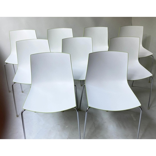 58 - ARPER CATIFA 46 CHAIRS BY LIEVORE ALTHERR MOLINA, a set of nine, stacking green and white, 80cm H. (...