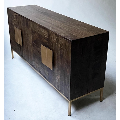 59 - SIDEBOARD, contemporary teak with four doors with gilt metal handles and square supports, 147cm x 42...