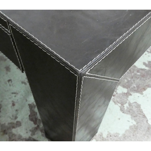 24 - LOW TABLE, contemporary leathered design, with drawer, 100.5cm x 100.5cm x 40cm.