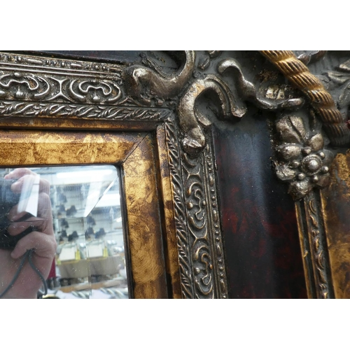 10 - WALL MIRROR, gilt and silvered and faux tortoiseshell finish, bevelled glass, 142cm x 173cm.