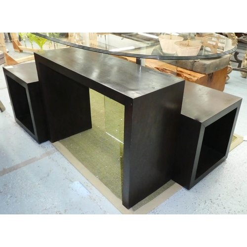 12 - CONSOLE TABLE, together with two side tables, 88.5cm x 34.5cm x 64cm at largest. (3)