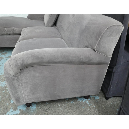 2 - CORNER SOFA, Howard style, purple fabric finish, 225cm W approx.