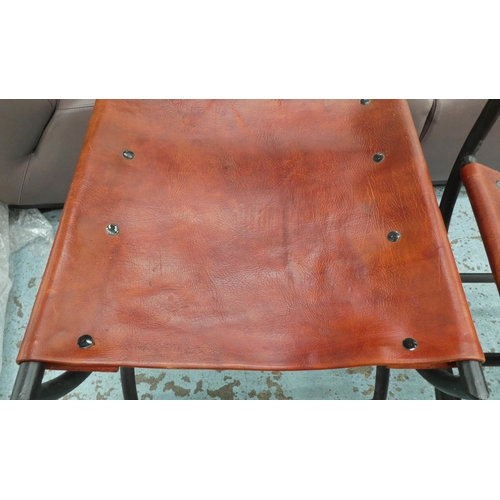 20 - SIDE CHAIRS, a pair, Spanish style, leather seats, 107cm H. (2)