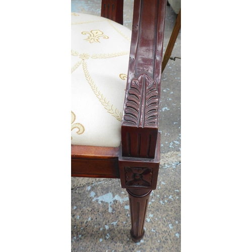 22 - DINING CHAIRS, a set of six, with fleur de lys patterned upholstery on fluted turned front supports,...