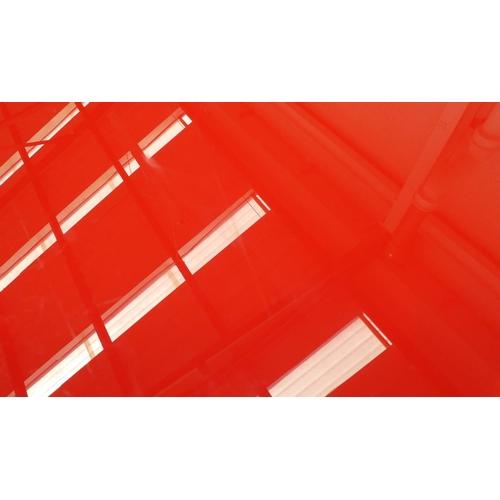 27 - CONSOLE TABLE, red glass top, 46cm D x 95cm H x 206cm W.