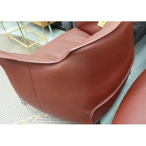 31 - POLTRONA FRAU ARCHIBALD CHAIRS, a pair, by Jean Marie Massaud brown leather on polished metal suppor...
