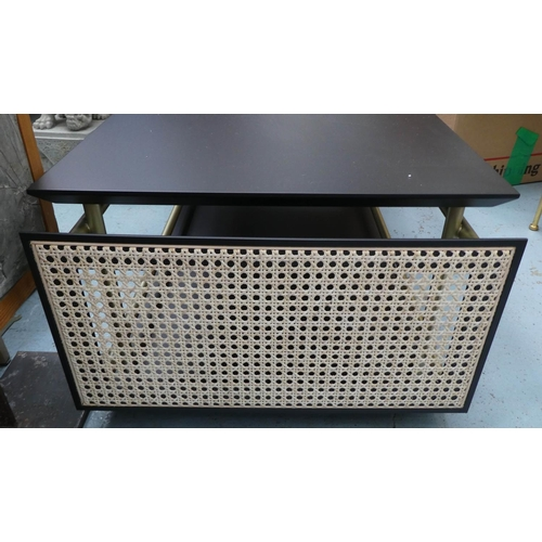 34 - LOW TABLE, with caned end panels, 50cm x 36cm H x 108cm.