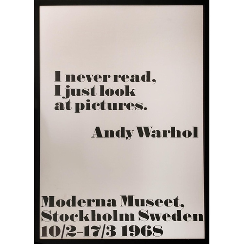 38 - ANDY WARHOL 'I never read, I just look at pictures', lithographic poster for exhibition 'Moderna mus...