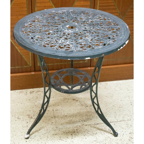 44 - GARDEN SET, distressed painted metal table with circular top 63cm H x 61cm and a pair of chairs. (3)