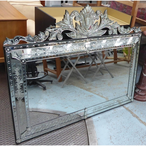 48 - WALL MIRROR, Venetian style rectangular with foliate etched effect decoration and a central bevelled...