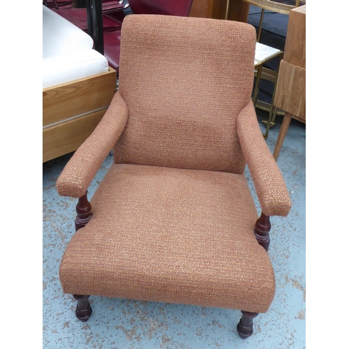 49 - WESLEY-BARRELL OPEN ARMCHAIR, with umber fabric upholstery, 70cm W x 86cm H.