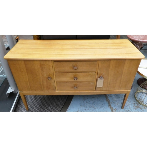 60 - GORDON RUSSELL SIDEBOARD, 1970's walnut with three drawers flanked by cupboards, 142cm x 49cm x 85cm...