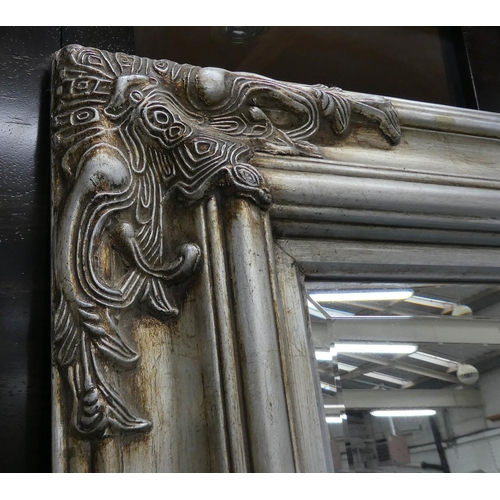 4 - MIRROR, Continental style, silvered finish, 145cm x 208cm.