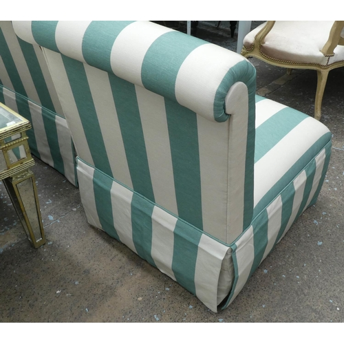 40 - DAVID SEYFRIED EASY CHAIRS, a pair, in a striped fabric, 65cm x 84cm H. (2)