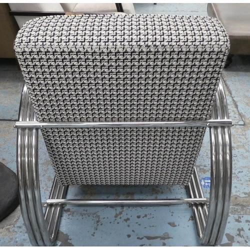 6 - DEDAR CHERIE FABRIC UPHOLSTERED LOUNGE CHAIR, contemporary design, polished metal arms, 77cm W.