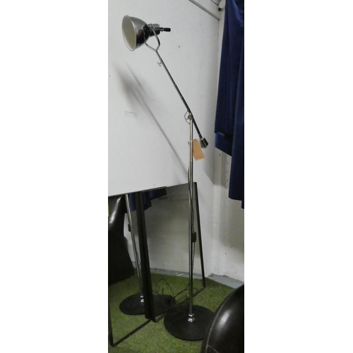 7 - FLOOR LAMP, 1950's English style, polished metal, 187cm H at tallest approx.