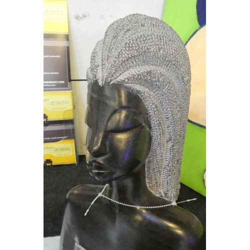 9 - CONTEMPORARY SCHOOL SCULPTURAL STUDY, African lady, carved stone, 141cm H.