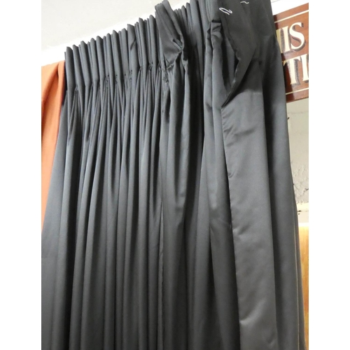 13 - CURTAINS, a pair, 170cm gathered x 320cm drop approx, black fabric, with associated pair of sheers, ...